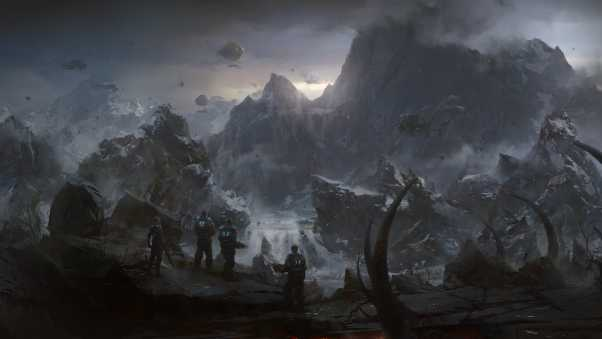 gears of war, mountains, soldiers