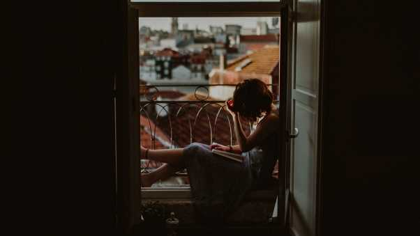 girl, balcony, reading