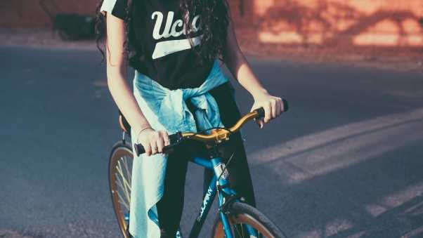 girl, bicycle, sport