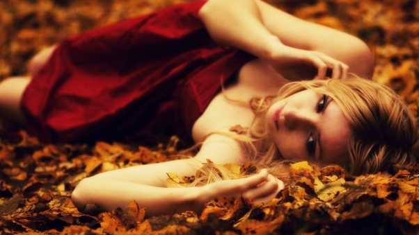 girl, blond, leaves