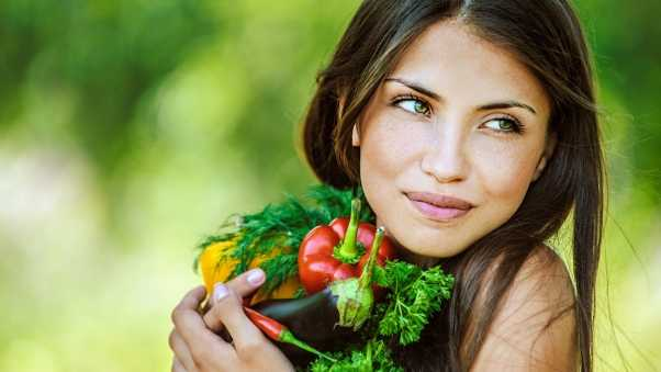 girl, brunette, vegetables