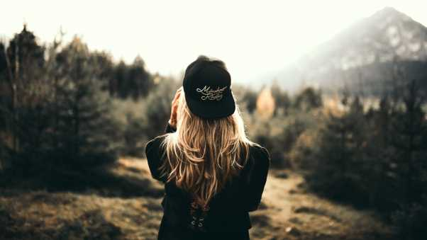 girl, cap, blonde