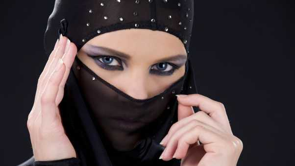 girl, face veil, black background