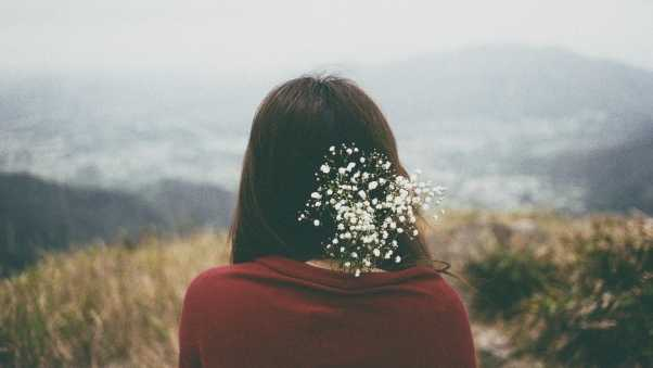 girl, flowers, hair