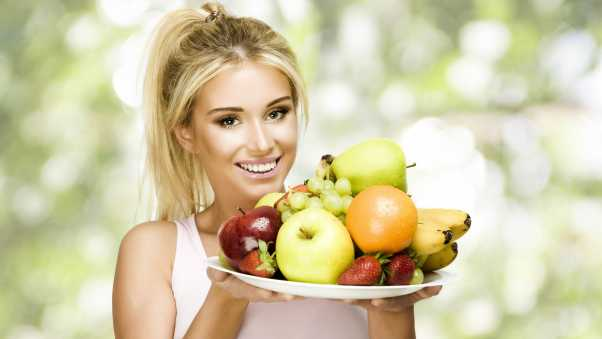 girl, fruit, plate