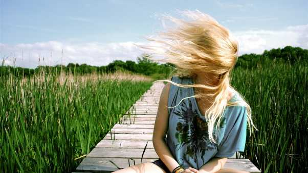 girl, grass, wind