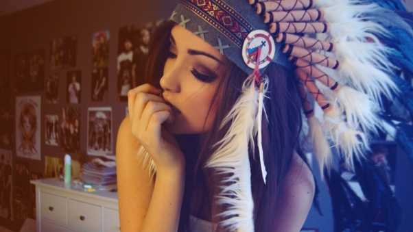 girl, indian, hat