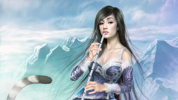 girl, mountains, pipe
