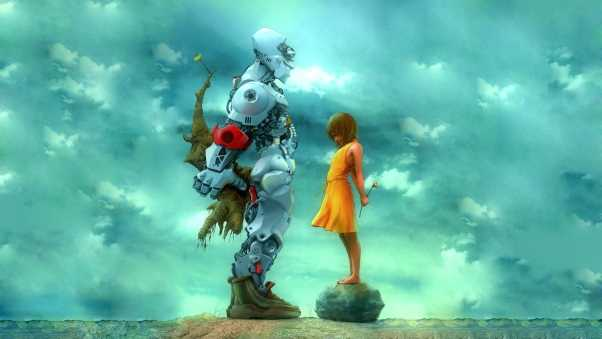 girl, robot, flowers