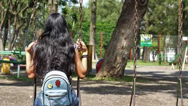 girl, swing, backpack