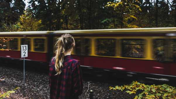 girl, train, forest