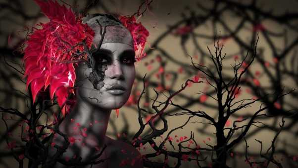 girl, trees, branches