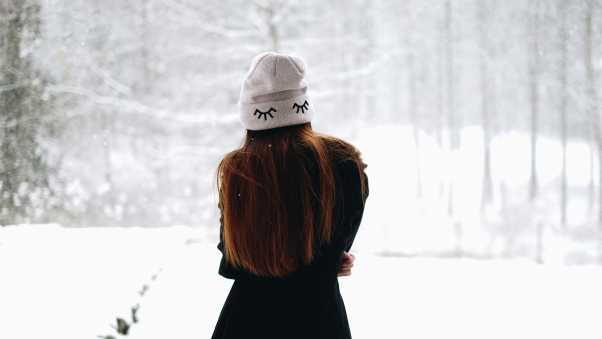 girl, winter, hat