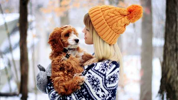 girl with the dog, hat, winter