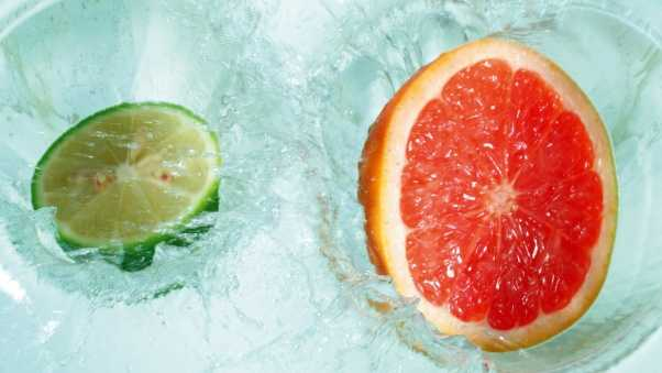 grapefruit, lime, water