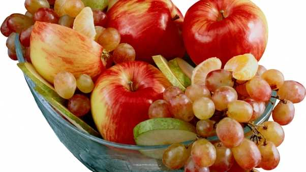 grapes, apples, plate