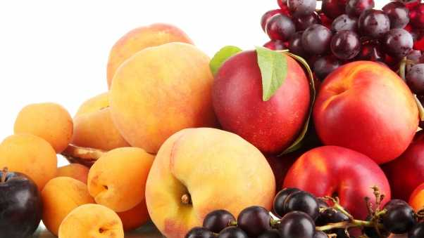 grapes, peaches, plums