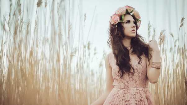 grass, wreath, dress