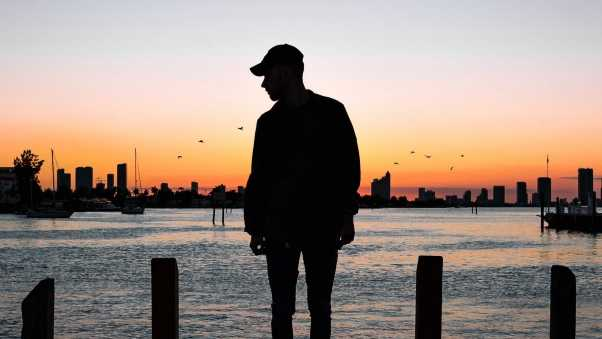 guy, silhouette, sunset