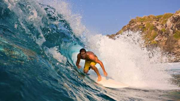 guy, surfing, wave