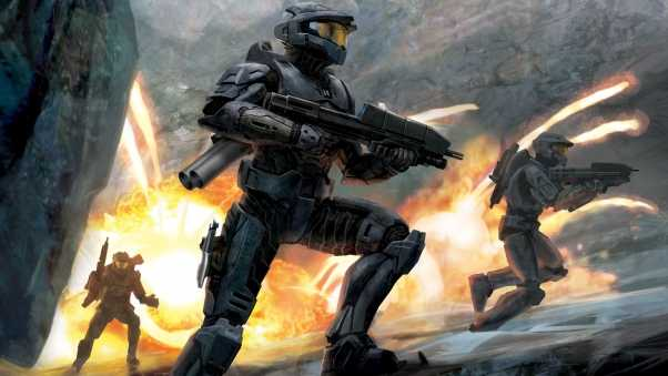 halo, soldiers, fire
