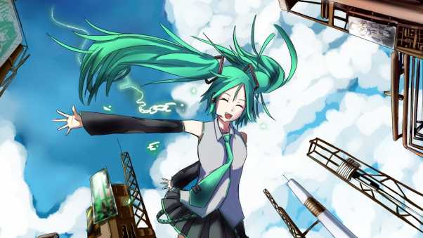 hatsune miku, girl, fun