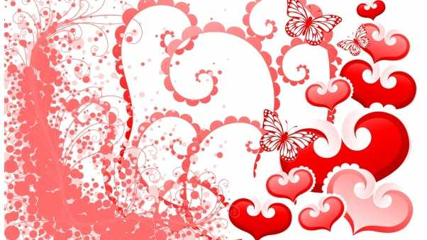 hearts, butterflies, background