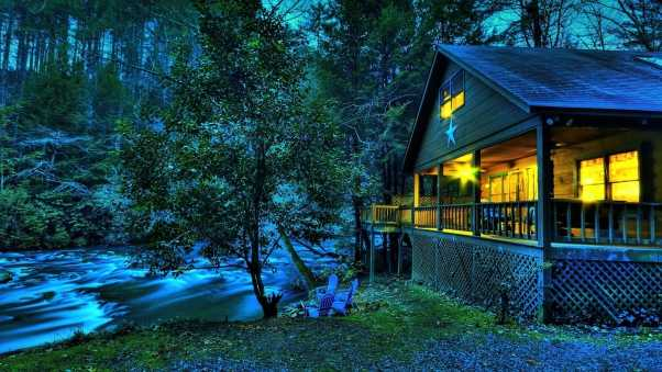 house, light, river