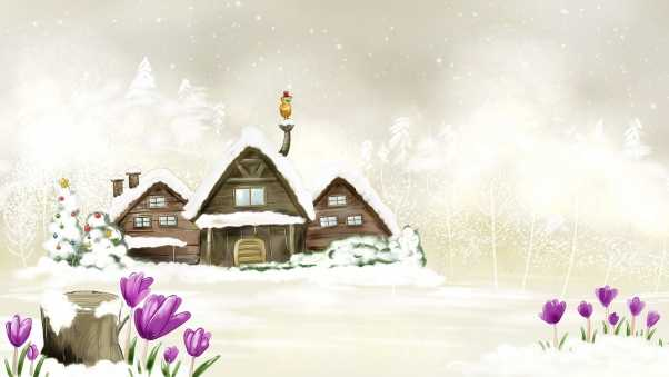 house, winter, drawing