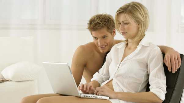 husband, wife, laptop