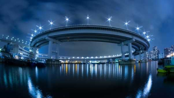 japan, bridge, lights