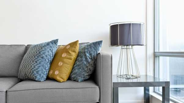 lamp, sofa, combination