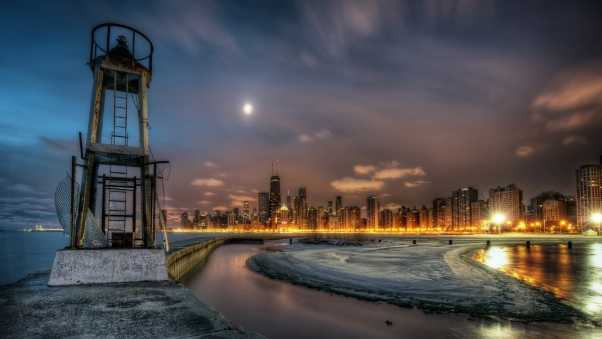 lighthouse, river, night