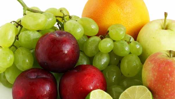 limes, grapes, apples