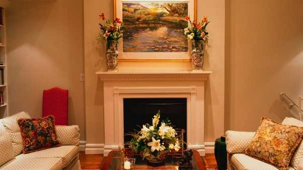 living room, furniture, fireplace