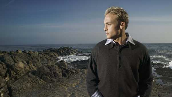 male, blond hair, sea