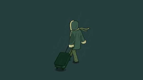 man, jacket, suitcase
