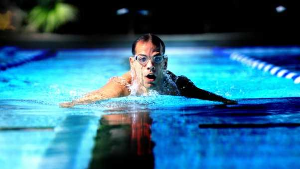 man, swimmer, swimming pool