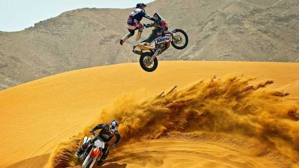 motocross, desert, motorcycle