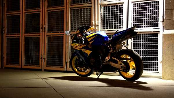 motorcycle, backyard, night