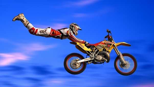 motorcycle, flight, trick