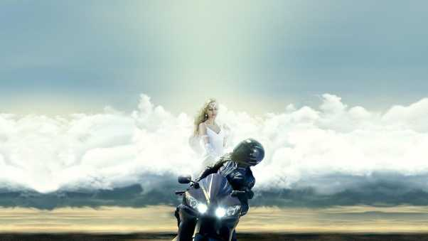 motorcyclist, guardian angel, clouds