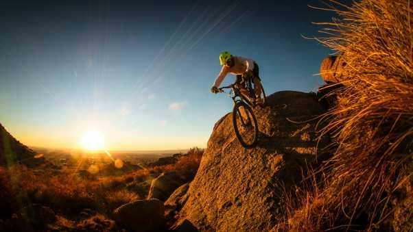 mountain bike, cyclist, man