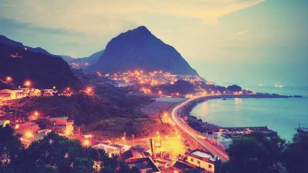 mountains, city lights, sea