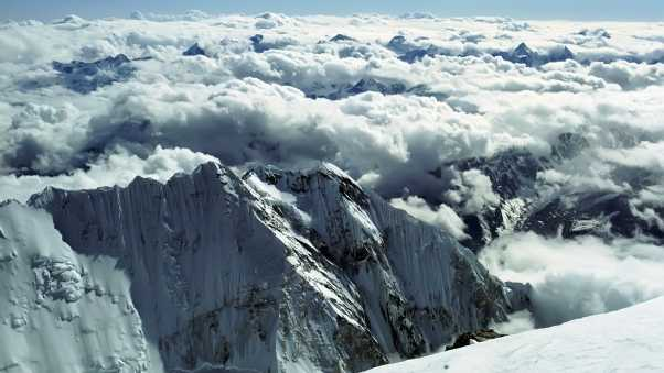 mountains, clouds, white