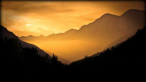 mountains, dawn, sun