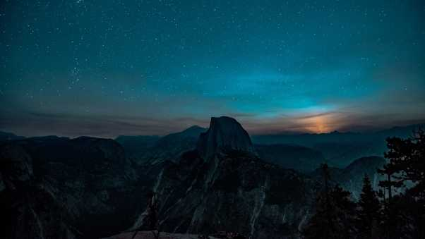 mountains, starry sky, hill