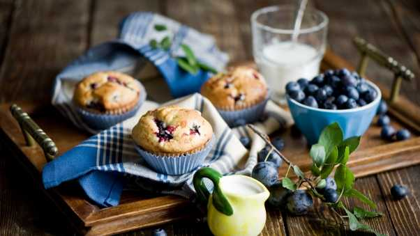 napkins, blueberries, muffins