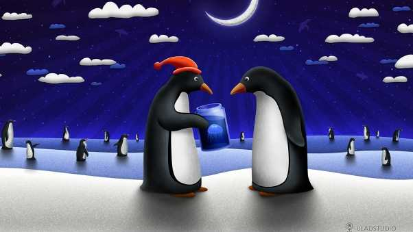 new year, christmas, penguins