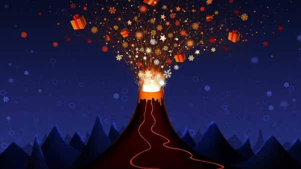 new year, christmas, volcano